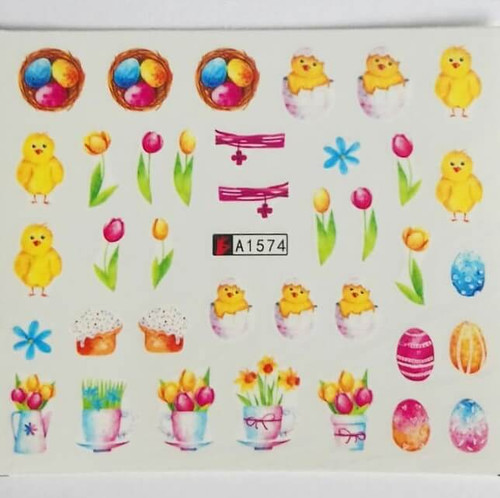 Easter chicks nail art water decals