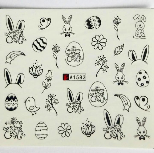 Hippity hop Easter nail art water decals