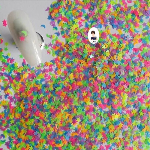 Neon Moons and stars nail glitter sequins