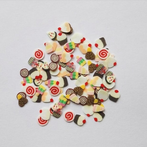 Cake and ice cream nail art fimo slices