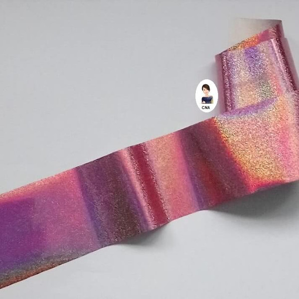 Rose pink Holographic glitter nail transfer foil