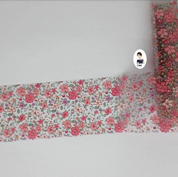 Pink floral hedge row nail art transfer foil