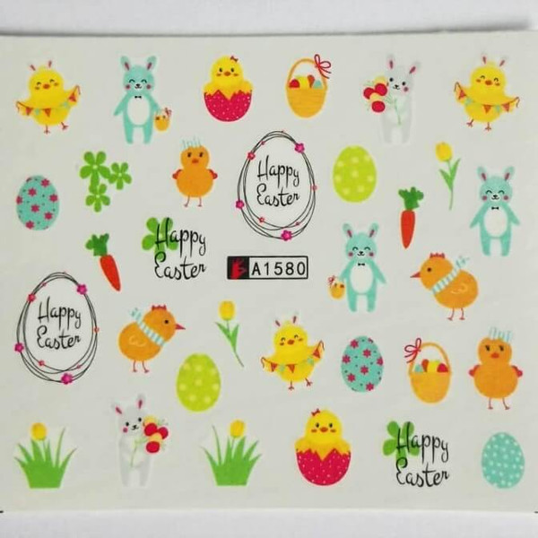 Easter joy nail art water decals