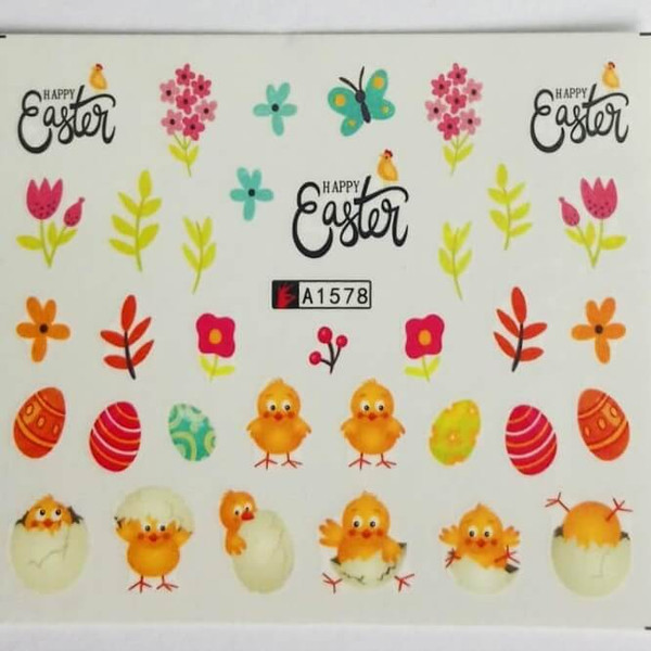 Happy Easter nail art water decals