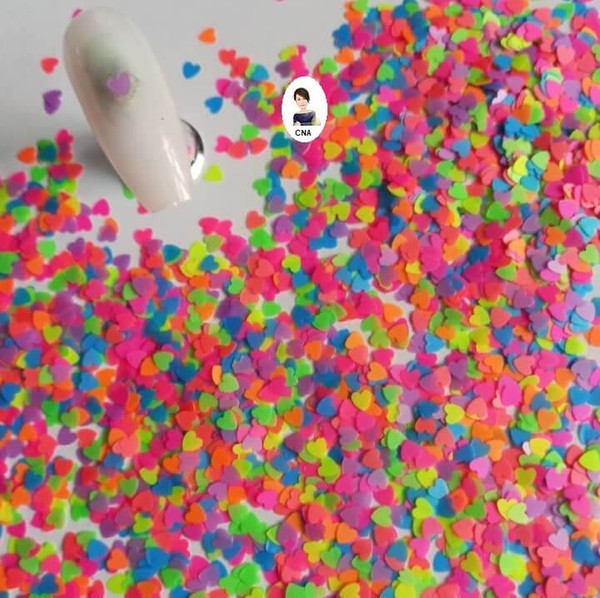 Neon hearts nail glitter sequins