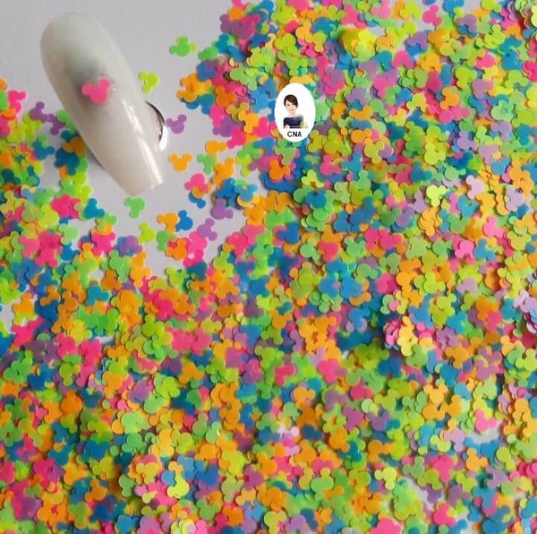 Neon Mickey mouse nail art sequin shapes