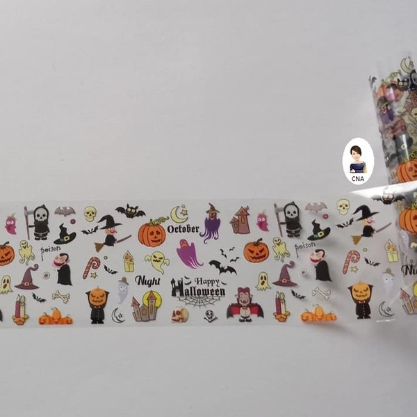 Halloween ghouls nail transfer foil
