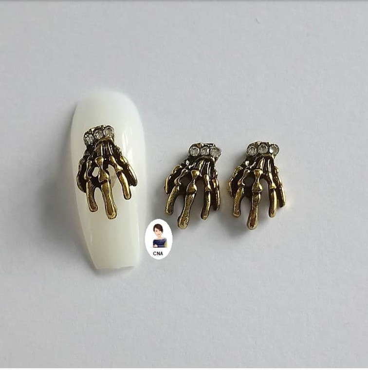 Skeleton claw nail art charms