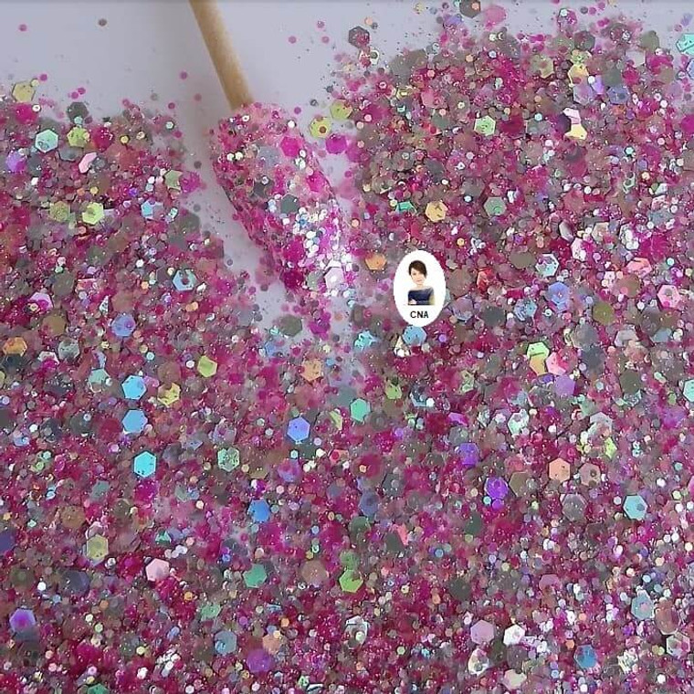 Enchanted pink nail glitter hexagon mix