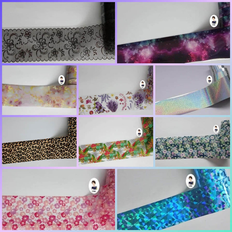 Selection of nail art foil transfers