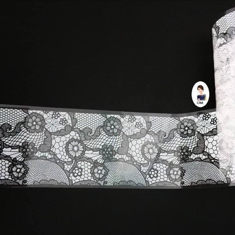 White Chunky floral lace nail transfer foil