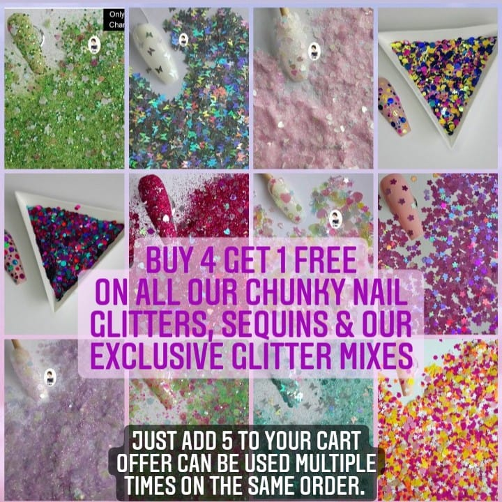 Buy 4 get 1 free nail glitter offer