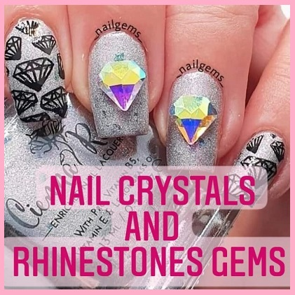 Nail crystals and rhinestones