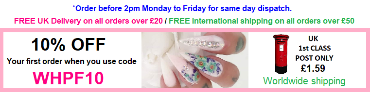 Nail art supplies delivery banner information