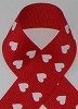 Red with White Hearts Grosgrain Ribbon