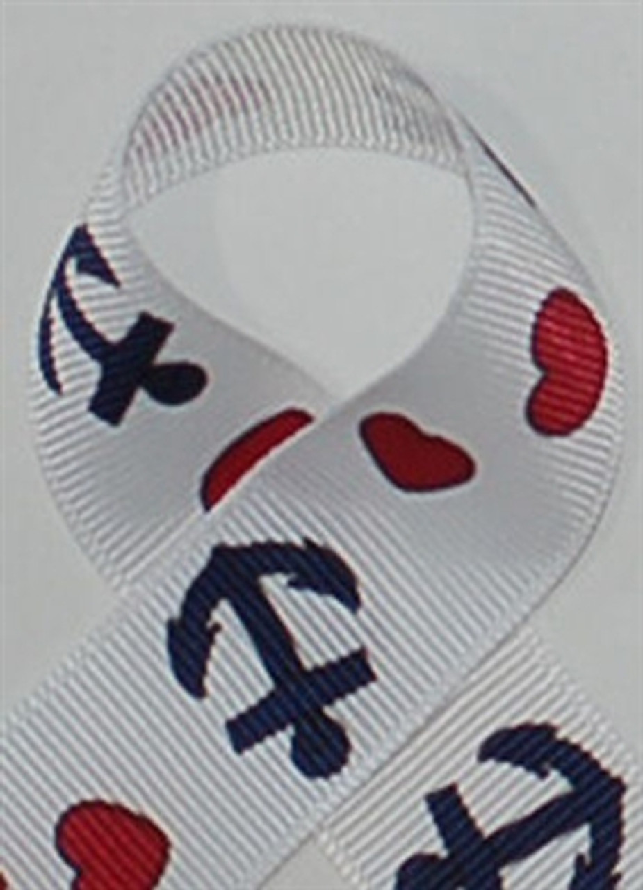 Anchor Printed Ribbon. Great for craft ribbon and printed hair bow ribbon for the 4th of july.