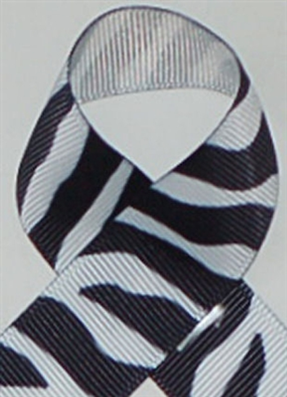Black and White Zebra Printed Ribbon. Great for hair bows, craft ribbon and more