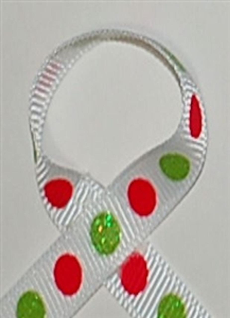 Glitter Polka Dot Ribbon Shocking Pink / Green