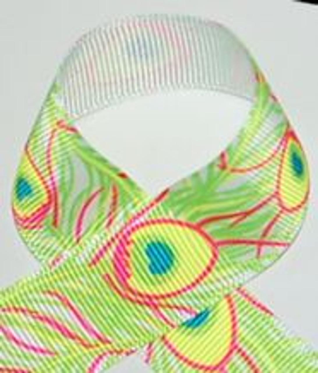 Peacock Printed Hair Ribbon