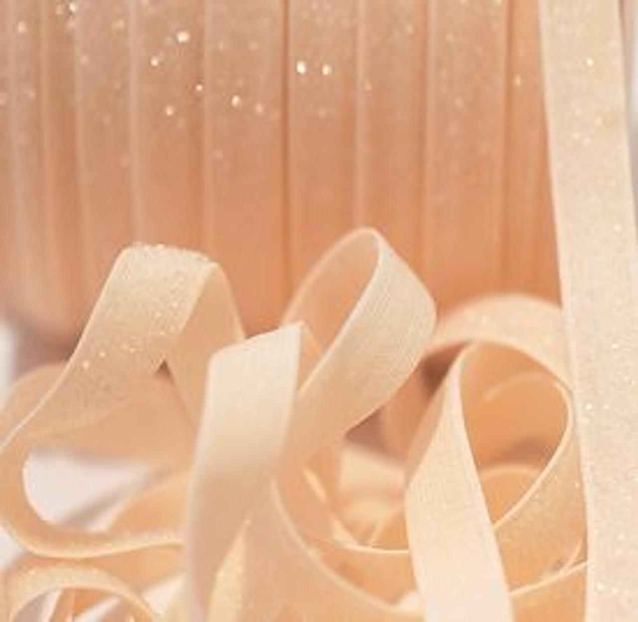 3/8 Creme Velvet Glitter Elastic