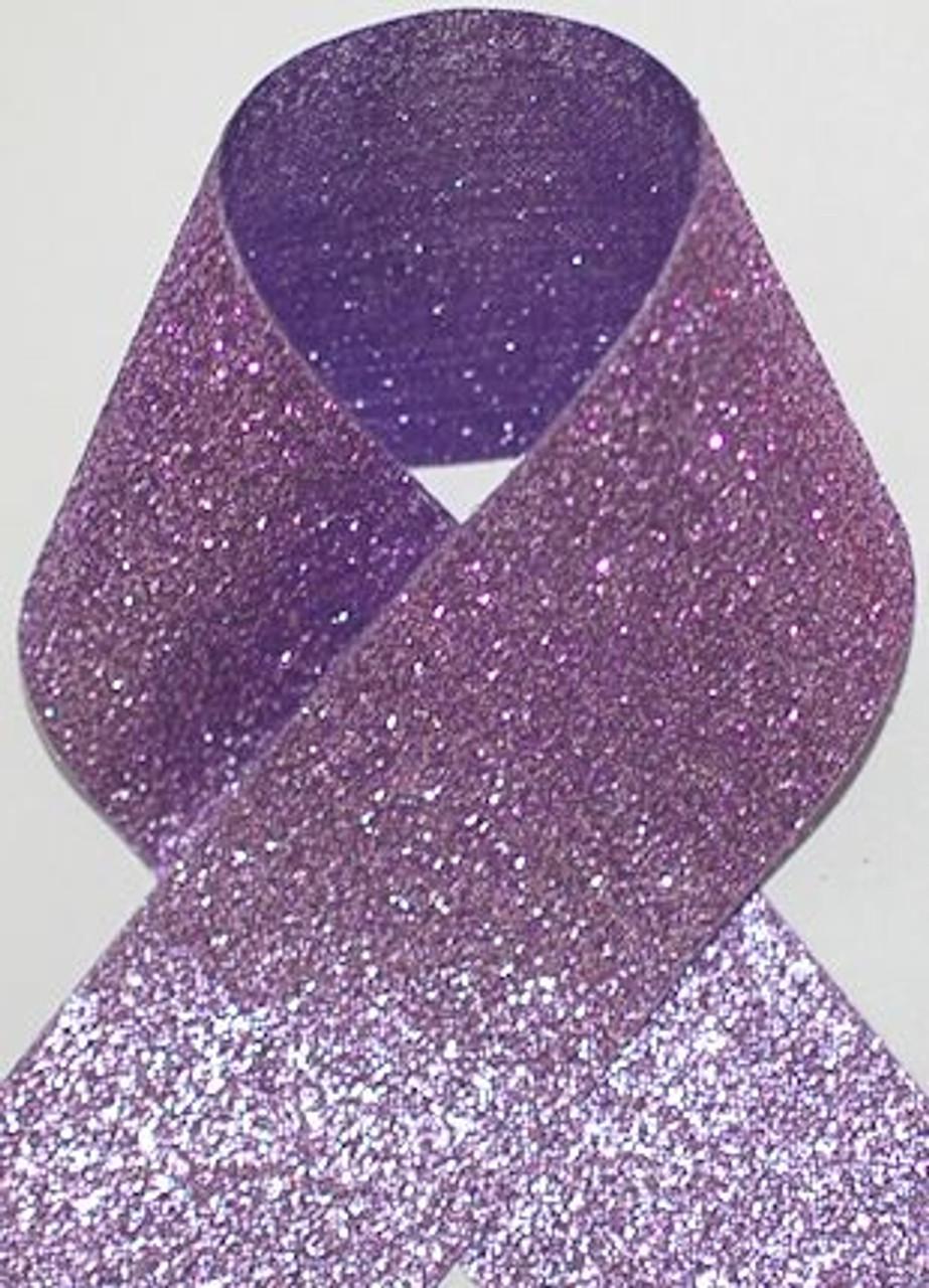 1.5 inch Glitter Purple Metallic Grosgrain Craft Ribbon for Cheer Bows Craft Supplies and Hair Bows.
