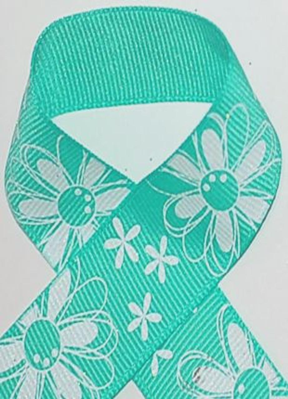 Aqua Glitter Printed Daisy Craft Ribbon