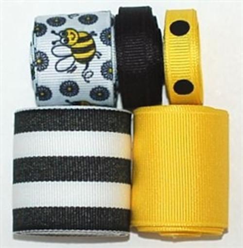 Bumble Bee Printed Ribbon Set