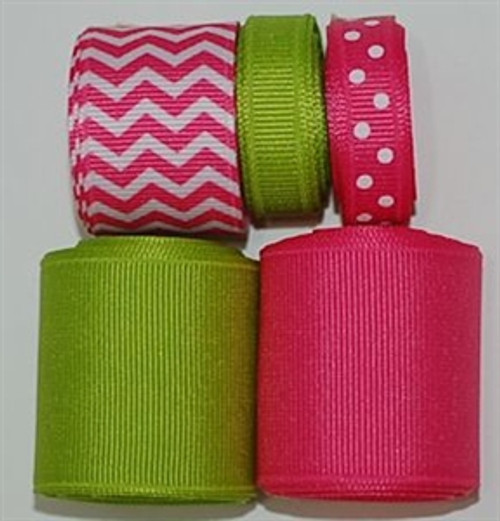 Hot Pink Chevron Ribbon Mix