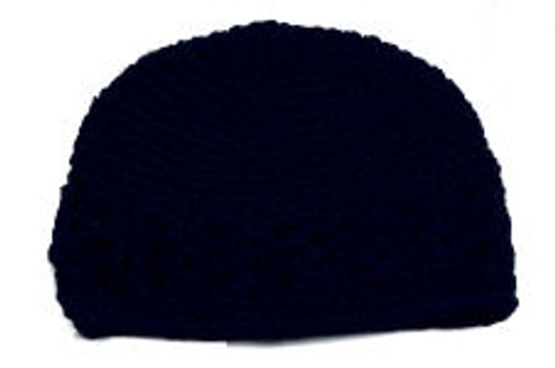 Navy Crochet Kufi Hats