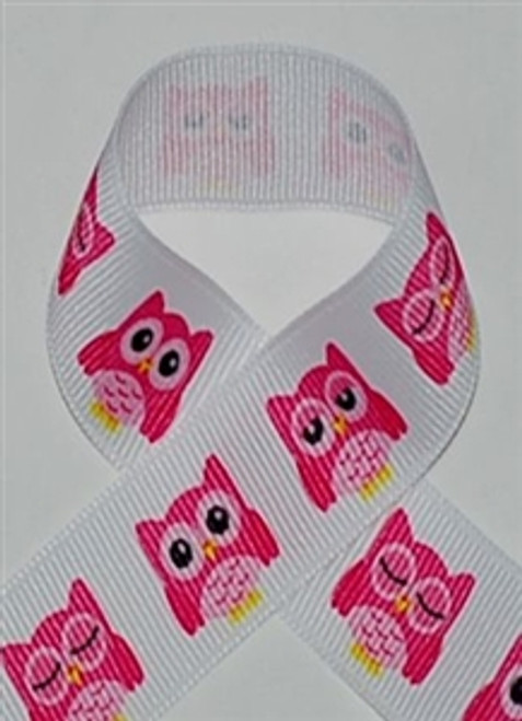 Sleepy Owl Printed Ribbon