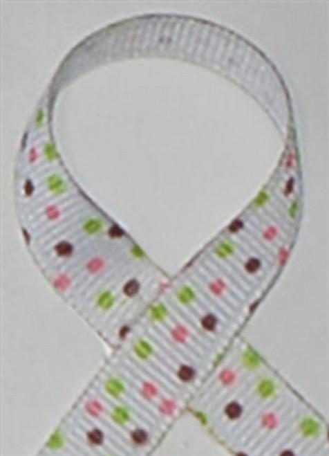 Sprinkle Dots Brown Grosgrain Ribbon