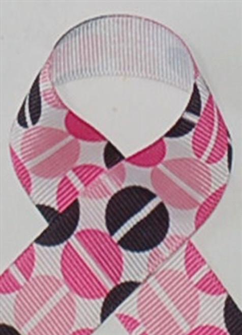 Split Pea Pink and Black Grosgrain Ribbon
