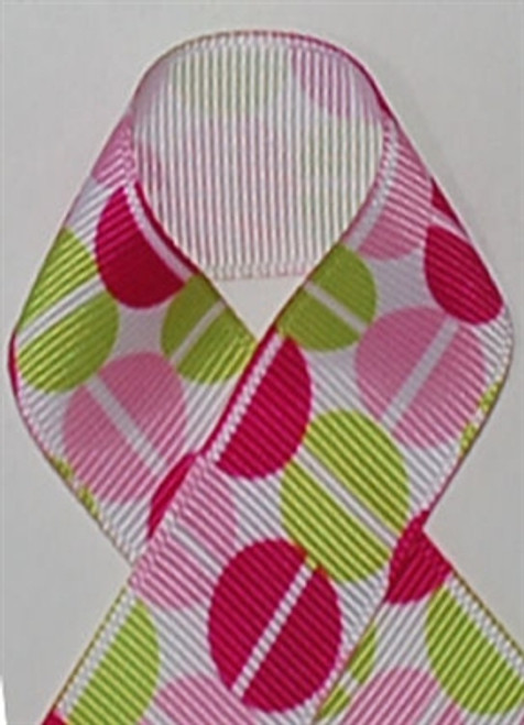 Split Pea Pink and Green Grosgrain Ribbon
