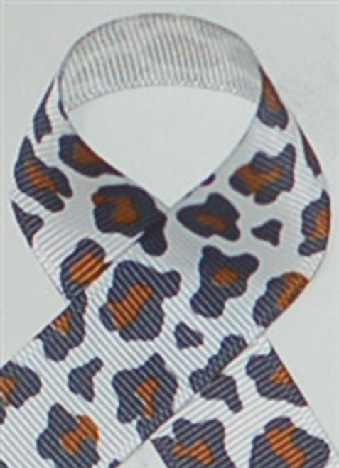 White Leopard Grosgrain Ribbon