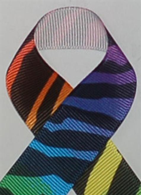Rainbow Zebra Printed Ribbon. Great for hair bows, cheer bows,craft ribbon and more