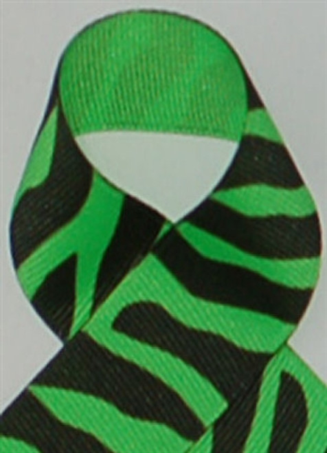 Neon Green Zebra Printed Ribbon. Great for hair bows, cheer bows,craft ribbon and more
