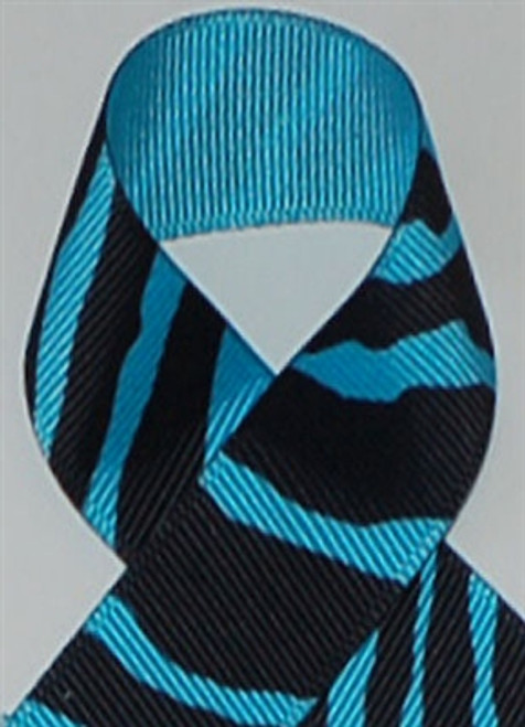 Turquoise Zebra Printed Ribbon. Great for hair bows, cheer bows,craft ribbon and more
