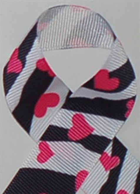 Zebra Heart Printed Ribbon. Great for hair bows, cheer bows,craft ribbon and more