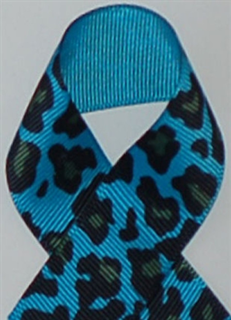 Turquoise Leopard Grosgrain Ribbon