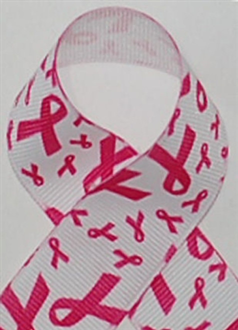 Shocking Pink Awareness Printed Ribbon