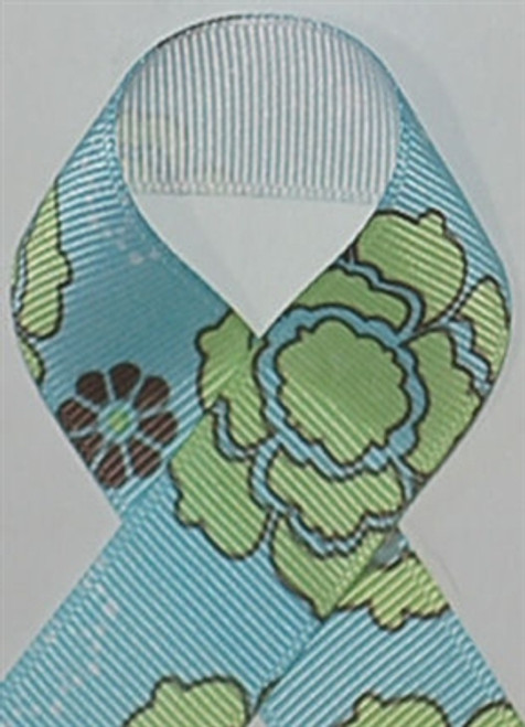Flower Power Light Blue Grosgrain Ribbon