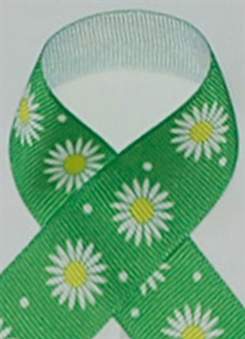 Green Daisies Grosgrain Ribbon