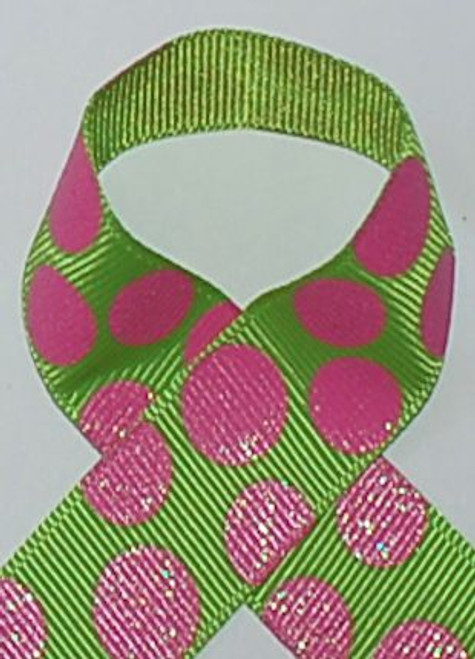 Lime / Hot Pink Dazzle Glitter Sugar Dot Ribbon