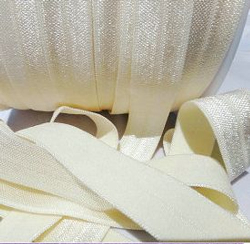 Ivory Fold Over Elastic Ribbon | Elastic Ribbon
