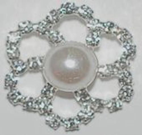 Crystal Rhinestone Pearl Flower Button