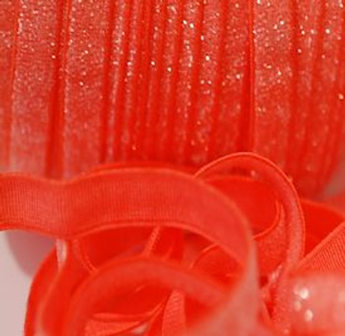 3/8 Neon Orange Velvet Glitter Elastic
