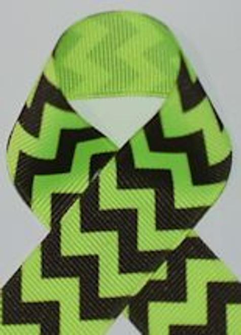 Neon Lime Chevron ribbon, Printed gross grain ribbon and grosgrain ribbon.