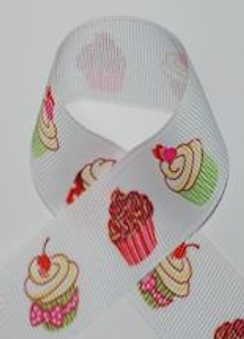 Cupcakes Printed Ribbon for Hair bows and Crafts