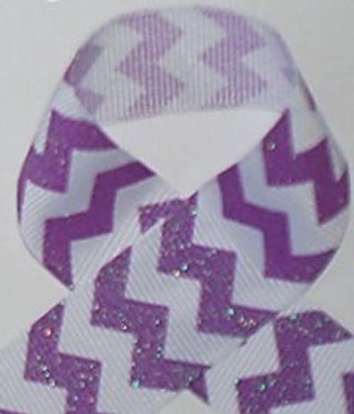 Purple Glitter Grosgrain Chevron Ribbon