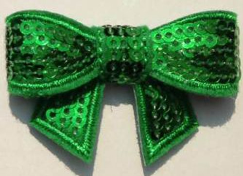 Green Sequin bows for small children. Our Sequin bows Shine in your hair and look spectacular.